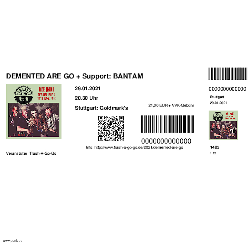 : HardTicket DEMENTED ARE GO + Support: BANTAM